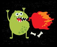 Monster with fire. Vector illustration Stock Photography