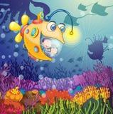 Monster fish and kids stock illustration
