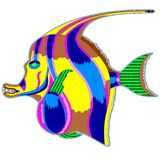 Monster fish with a large fin vector illustration