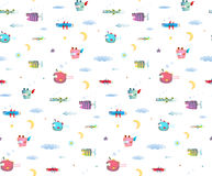 Monster Fly Fish seamless pattern for Kids Design background. Seamless pattern Fun Cute Cartoon Monsters flying in sky for Kids Design background. Undewater Stock Photos