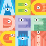 Monster font A B C D E F G H I Stock Image
