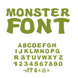 Monster font. Green Swamp letters. Horrible alphabet. Scary Abst Royalty Free Stock Photography