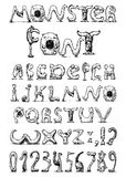 Monster font. Illustration of a font made of monsters stylized as engraving stock illustration