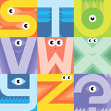 Monster font S T U V W X Y Z Stock Photos