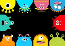 Monster frame. Cute cartoon scary character set. Different emotion. Baby collection. Black background . Happy Halloween ca. Rd. Flat design. Vector illustration Stock Photography