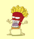 Monster French Fries. Junk food vector Stock Photo