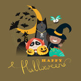 Monster friends kids guising trick or treat  Royalty Free Stock Photography