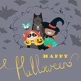 Monster friends kids guising trick or treat Stock Photo