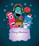 Monster-frohe Weihnacht-Karten-Design. Stockfotografie