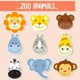Set of animal faces. Set of animal faces,farm animal Royalty Free Stock Photos