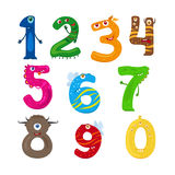 Monster funny numbers. Monster numbers. Vector funny children numbers vector Stock Illustration