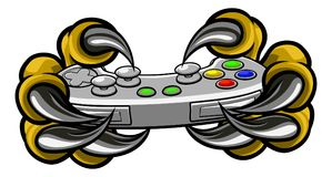 Monster Gamer Claws Holding Games Controller. Monster gamer player hands or claws holding a controller playing video games Royalty Free Stock Photo