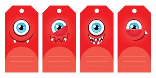 Monster gift tags. Gift tags with funny cartoon monsters. Some blank space for your text included Royalty Free Stock Photo