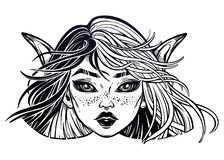 Monster girl. Elf magic woman with long ears and two color plit hair blown by the wind. Monster girl. Young elf magic woman with long ears and two color plit stock illustration