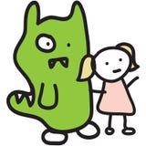 Monster & Girl Stick Figure Stock Images