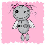 Monster girl with wings. Isolated on a pink background stock illustration