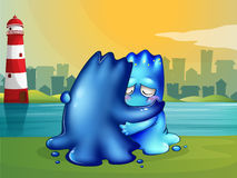 A monster giving a shoulder to cry on for a friend Royalty Free Stock Images