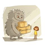 The Monster Life Responsibilities royalty free stock photo