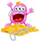 A monster with gold bars and pearls Stock Photo