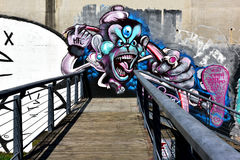A monster graffiti on the cement wall. Of Honghu Park, Shenzhen, China Royalty Free Stock Photography