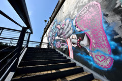 A monster graffiti on the cement wall Royalty Free Stock Photos