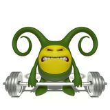Monster green weight-lifter Royalty Free Stock Images
