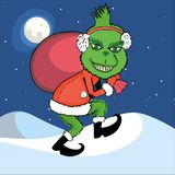 Monster grinch steals new year. Green monster Grinch steals a bag with gifts New Year stock illustration