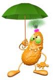 Monster hält einen Regenschirm der grünen Farbe Stockbild