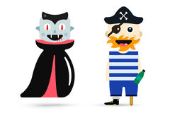 Monster halloween vampire, pirate cartoon Royalty Free Stock Photos