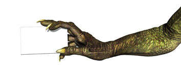 Monster Hand with Business Card. A monster hand holds a blank business card - 3d render with digital painting Royalty Free Stock Image