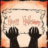 Monster Hands Holding Halloween Sign in Hand Drawn Style, Vector Royalty Free Stock Images