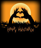 Monster hands make heart shape. For Halloween background Royalty Free Stock Images