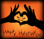 Monster hands make heart shape. For Halloween background Stock Image