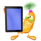 Monster has control over mobile tablet Royalty Free Stock Images