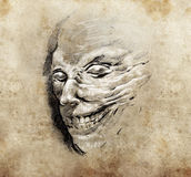 Monster head, Tattoo art, hadmade sketch Royalty Free Stock Image