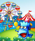 A monster at the hilltop with a carnival. Illustration of a monster at the hilltop with a carnival Stock Image