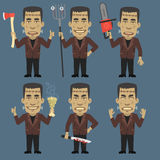 Monster Holding Ax Chainsaw Pitchfork. Vector Illustration, Monster Holding Ax Chainsaw Pitchfork, Format EPS 8 Royalty Free Stock Photography