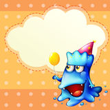 A monster holding a balloon standing in front of the empty cloud Royalty Free Stock Images