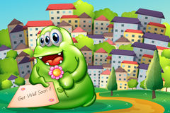 A monster holding a flower and a card. Illustration of a monster holding a flower and a card Royalty Free Stock Images