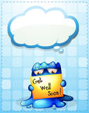 A monster holding a get-well-soon card with an empty callout Stock Image