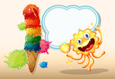 A monster holding a trophy near the giant icecream Stock Photo