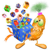 Monster holds box with gifts Royalty Free Stock Photo