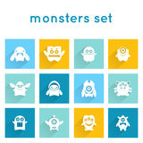 Monster Icons Set Stock Photo