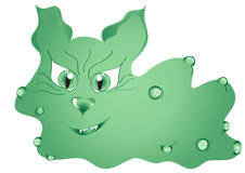Monster illustration. Green monster illustration, angry microbe Royalty Free Stock Photos