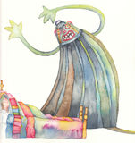 The monster. Illustration of the story backpack Royalty Free Stock Photography