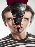 Monster inside. Monster face replacing human face Stock Photography