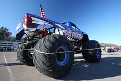 Monster Jam truck Patriot. A monster truck called Patriot  is on display at Qualcom Stadium in San Diego before a show that took place in January 2009 Royalty Free Stock Photo