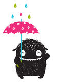 Monster for Kids with Umbrella under Colorful Rain Drops Royalty Free Stock Photo