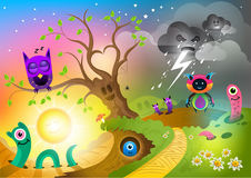 Monster Land. Fantastic creatures and monsters royalty free illustration