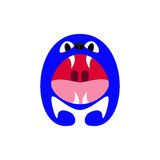 A monster. Letter A. Navy colored little monster with big eyes and nose, wide opened mouth and four fangs in the shape of capital letter A isolated on white Royalty Free Stock Image